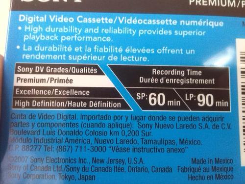 cinta mini dvc / dv 60 minutos sony cassette dvm60 premiun