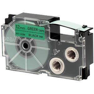 cinta para rotulador casio xr-12gn1 12mmx8m negro/verde