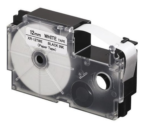 cinta para rotulador casio xr-12twe 12mmx5.5m negro/blanco