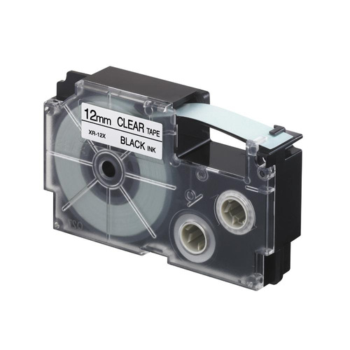 cinta para rotulador casio xr-12x1 12mmx8 negro/transparente