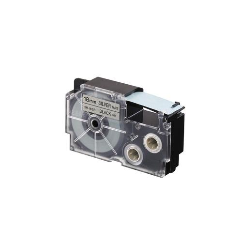 cinta para rotulador casio xr-18sr1 18mmx8m negro/plateado