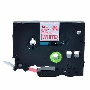 cinta para rotuladora tze 232 rojo/blanco 12mm (238226)