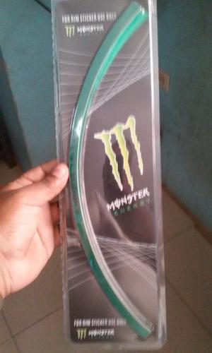 cinta  reflectiva para rines monster solo verde