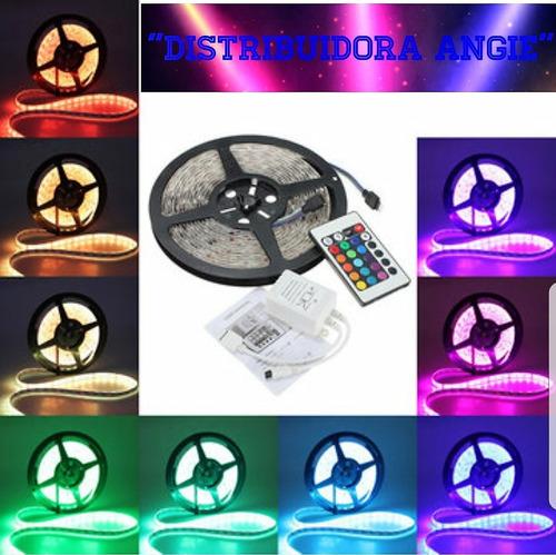 cinta rollo tira luces led 5mt 5050 multicolor + control rgb