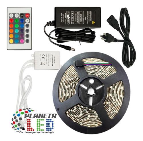cinta rollo tira luces led 5mt multicolor +control rgb 5050