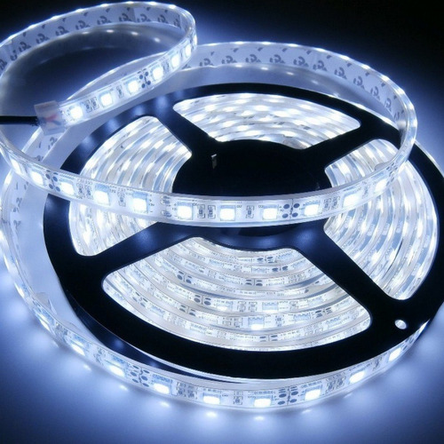 cinta tira led blanco frio 5mts + transformador de luces