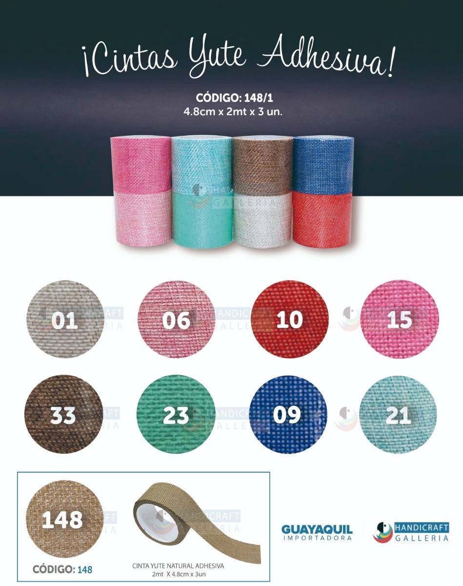 Cinta Yute De Color Adhesiva Manualidades Empaque 6 Rollos