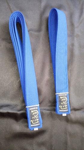 cintas azules para karate, judo y taekwondo. marca mushin.