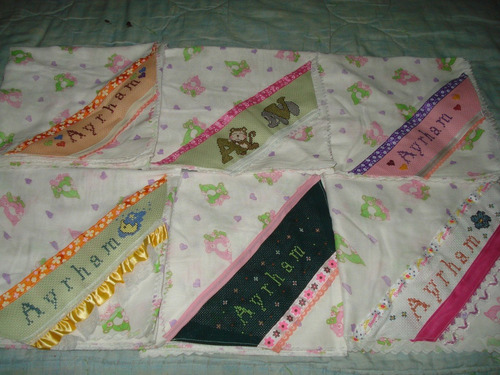 cintas bordadas a mano en punto de cruz