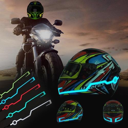 cintas tiras led adhes.+ porta pilas casco moto seguridad t1