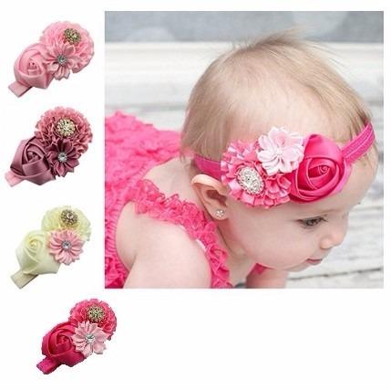 cintillo elástico para bebes - niñas - flor rosa  decorado