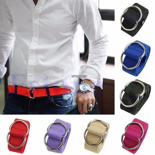 cinto 2 fivelas masculino de lona varias cores - promoção