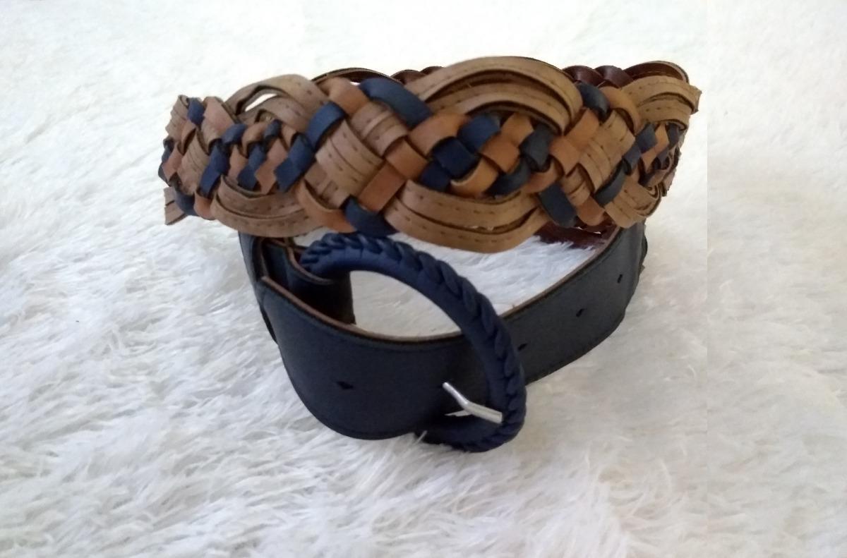 cinto cinturon trenza de mujer marron y azul grueso ancho. Cargando zoom. cd75c6eefc38