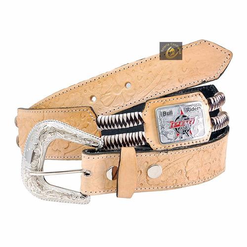 cinto de couro country cbr entalhado - montaria touro cavalo