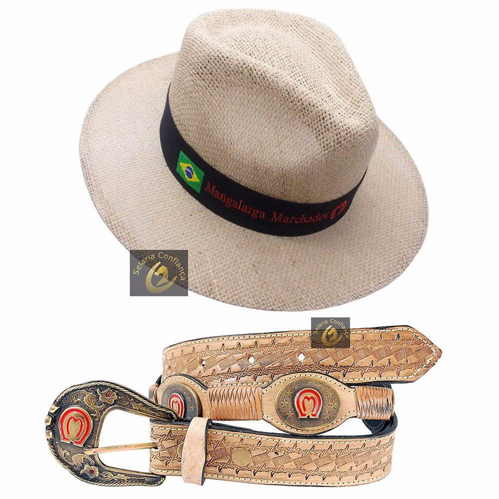 cinto de couro country mangalarga + chapéu juta - oferta! Carregando zoom. 08389d218bb