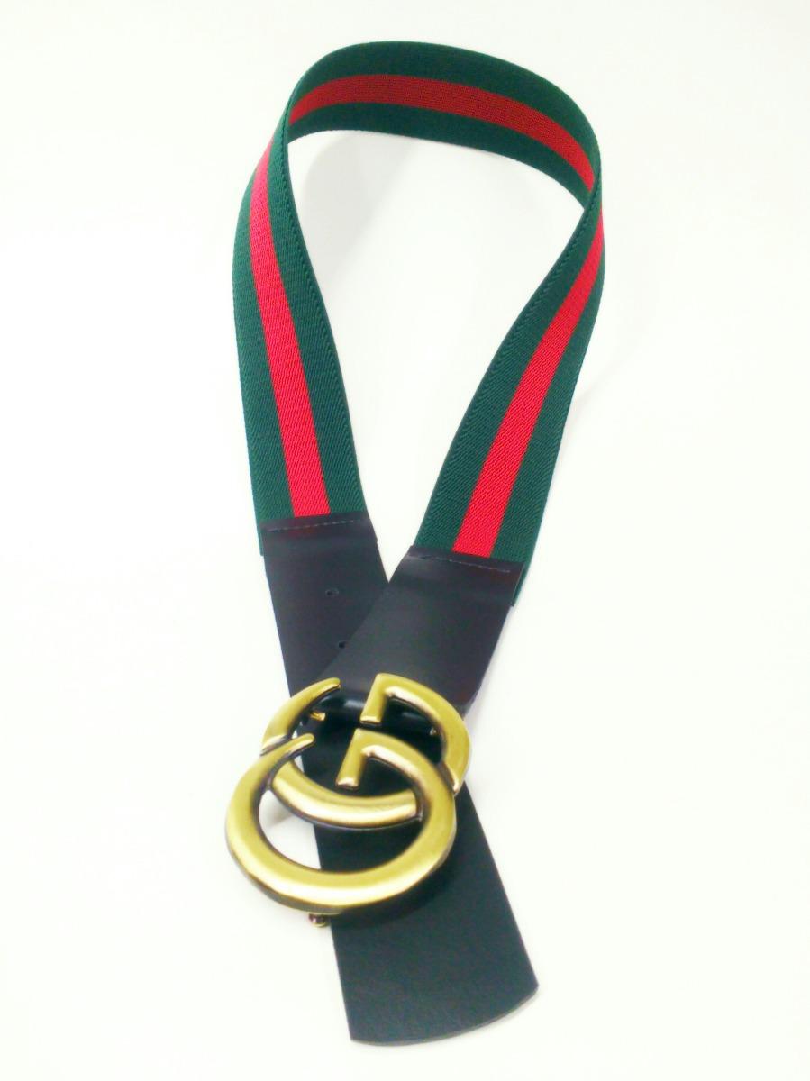 02048f3fdfc Cinto De Elástico Verde E Vermelho Com Fivela Gg - R  60