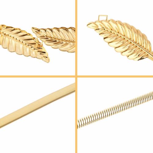cinto feminino em metal modelo folhas dourado ou prata