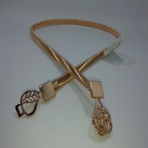 cinto feminino placa metal belt dourado luxo #k005