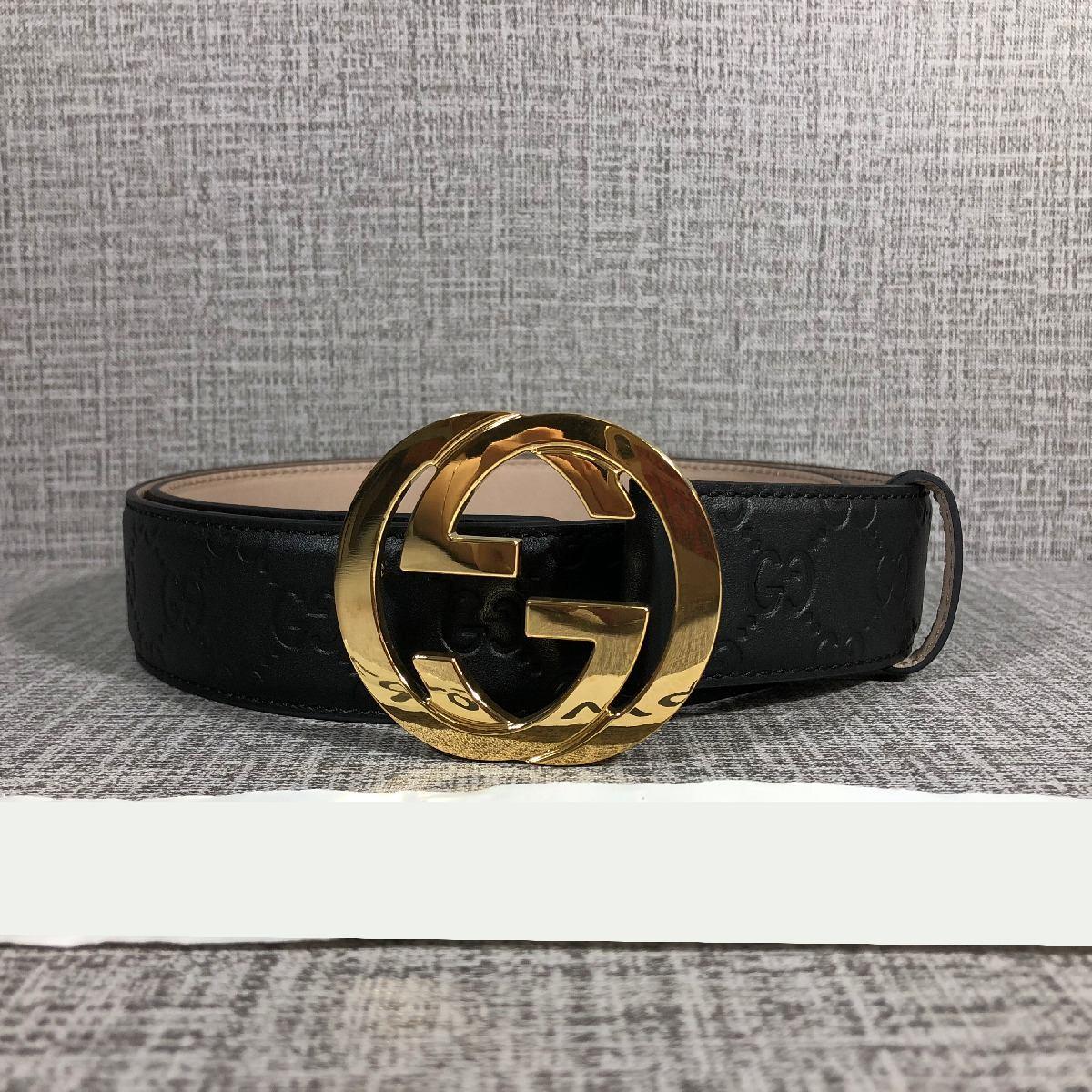 Cinto Gucci Original Para Hombre Color Negro Gg -   3 3becf8a32ab