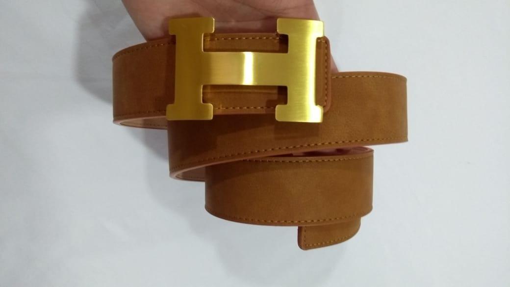 8a8ff999a46 Cinto Hermes Couro Caramelo Com Fivela Dourado Lançamento