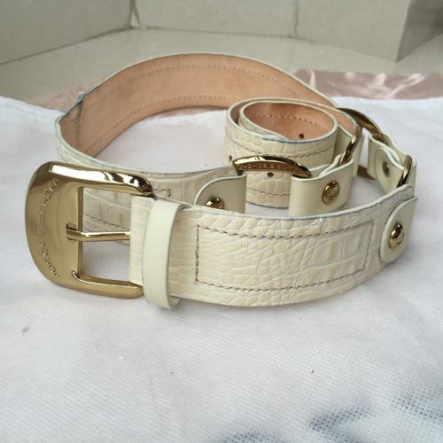 cinto jorge bischoff couro off-white e dourado
