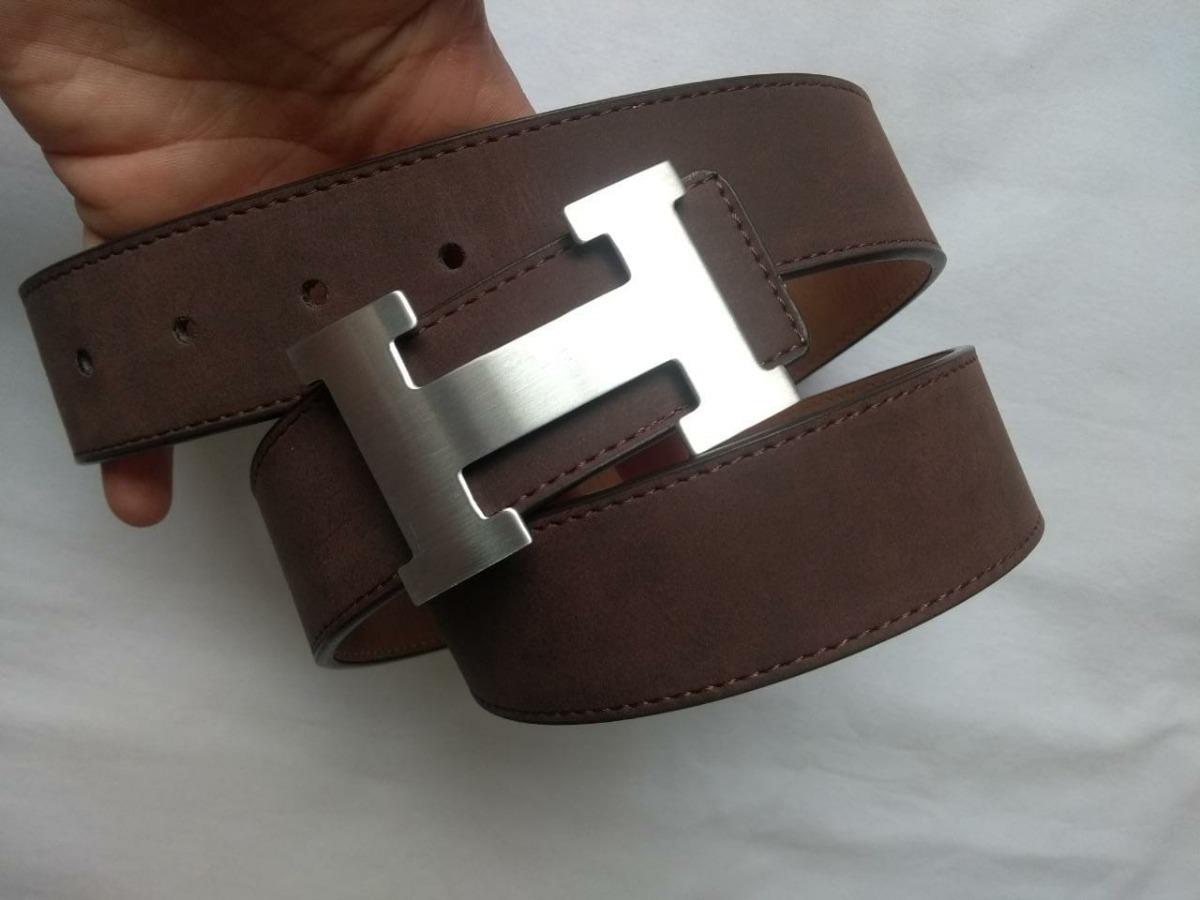 fe4f6a87e41 Cinto Luxo Hermes Couro Marrom Com Fivela Prata Masculino