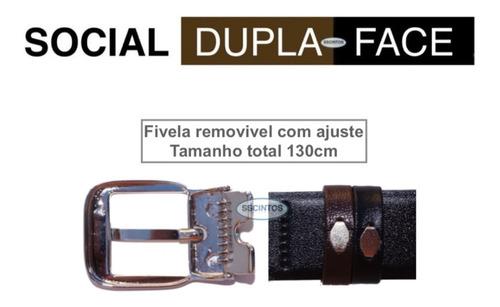 cinto masculino social dupla face larg 3cm c/ caixa acrilica