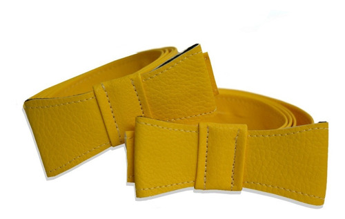 cinto moño pin up  retro amarillo vegano cuero sintético