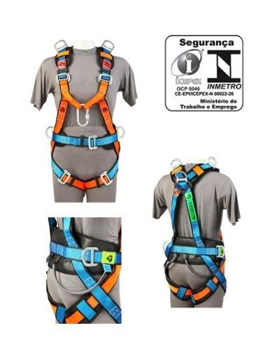 cinto paraquedista abdominal modelo ab-304 laranja/azul t un