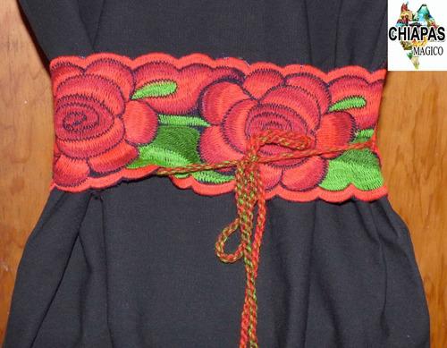 cintos o fajas para blusas de chiapas / negras flores rojas