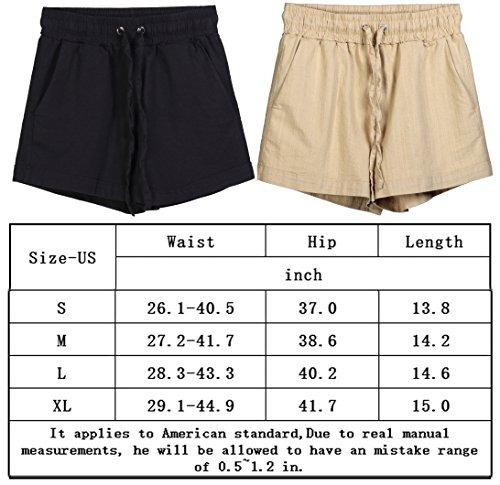 Cintura Elastica Pantalones Cortos Para Mujer Casual Lino Y ... e1aeb1bae45b