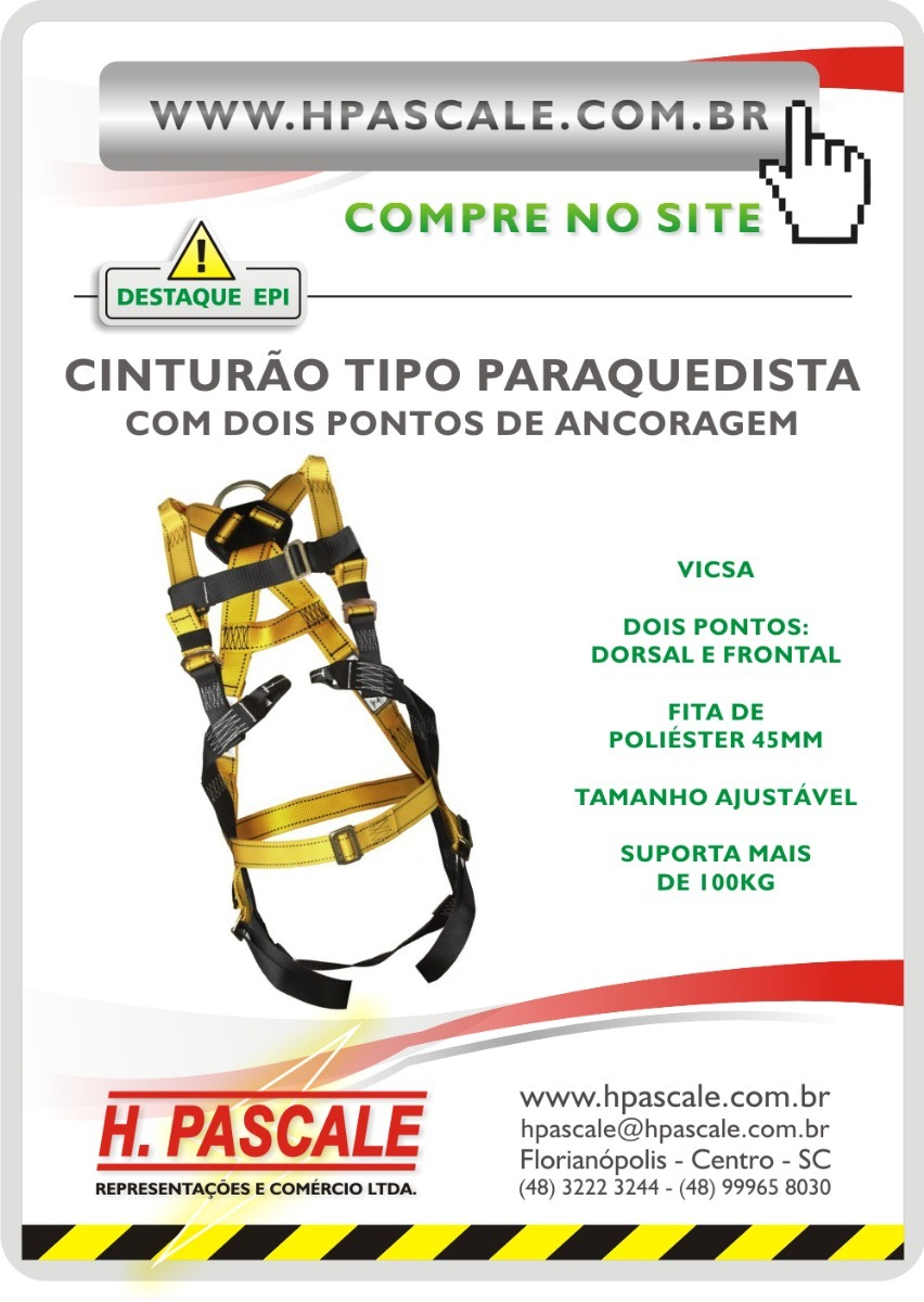 aab28126bc025 cinturão altura segurança paraquedista 2 pontos vicsa epi. Carregando zoom.
