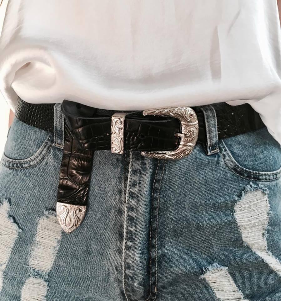 texano mujer cinturon hebilla croco blanco zoom Cargando cinto negro  6xxUTvHw ff79bc357e60