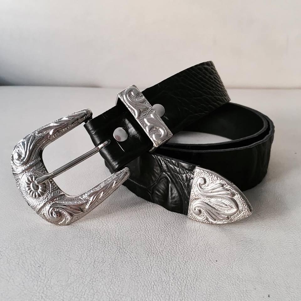gama completa de especificaciones Promoción de ventas mas fiable Cinturon Cinto Texano Croco Hebilla Mujer Blanco Negro