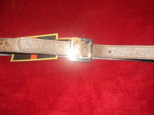 cinturon cuero grabado bulgaro marron