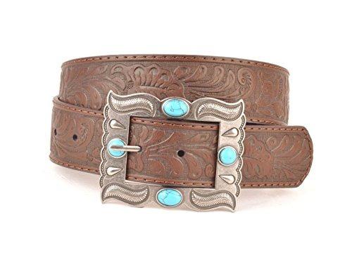 cinturon de cuero genuino marron grabado en relieve diseno g