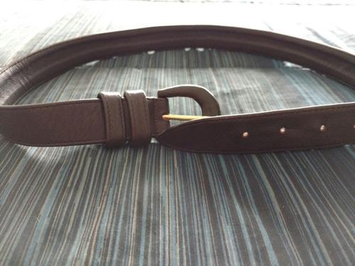 cinturon de cuero marrón hebilla forrada