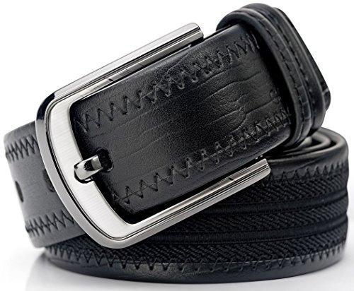 cinturón de cuero para hombre y cinturón de lona doble con c