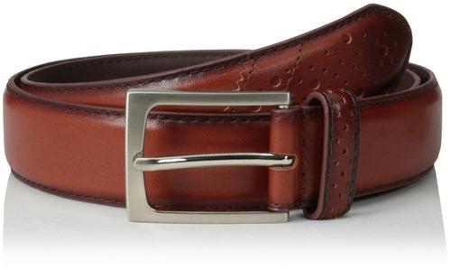 cinturón de punta de cuero de grano completo para hombres de