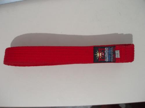 cinturon de taekwondo  rojo  marca bushido.