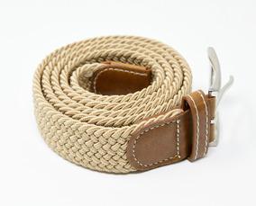 e228a78915 Cinturón Elastico Trenzado Para Hombre Marca Corda Beige 02
