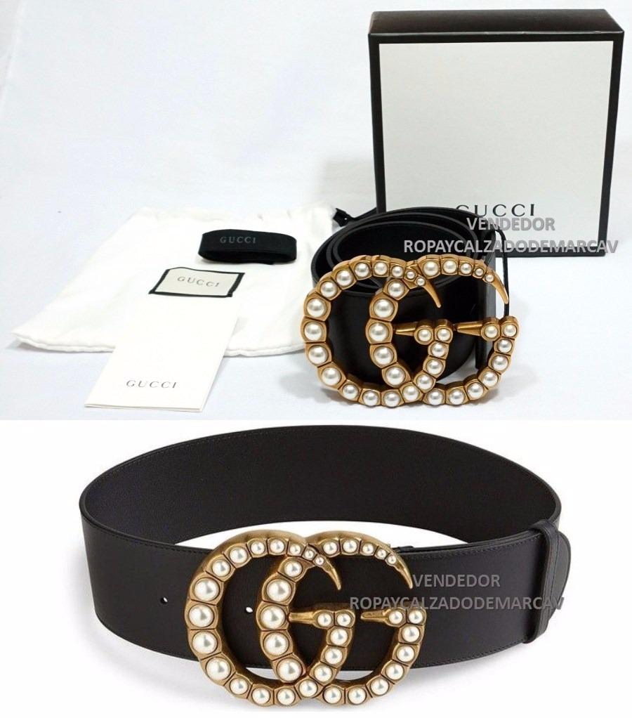 Cinturon Gucci Dama Big Negro Con Perlas Meses S i -   4 b6f4dd298a4