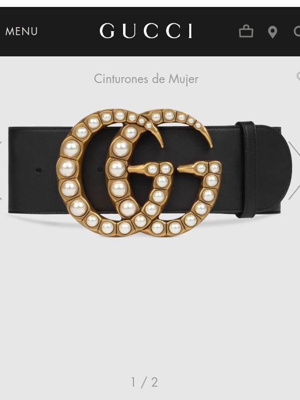 Cinturon Gucci Doble G Perla Ancho Piel!!! -   2 78ccd889467