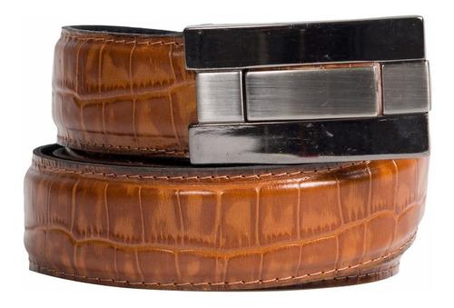 cinturon marron hombre vestir cuero croco desmontable