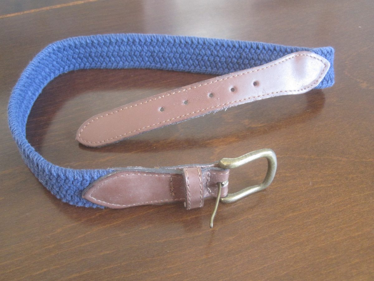 Cinturón Niño Color Azul De Soga Trenzada Y Cuero 60 Cm -   240 6e8753296622