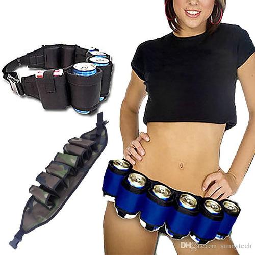 cinturon para latas de cerveza o bebidas, six pack, fiestas