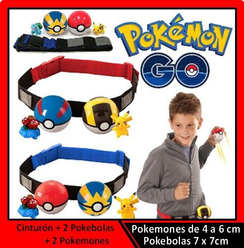 cinturón pokemon +2 pokebolas + 2 pokemones - envío gratis
