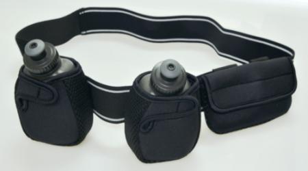 cinturon running de hidratacion de neoprene con 2 botellas