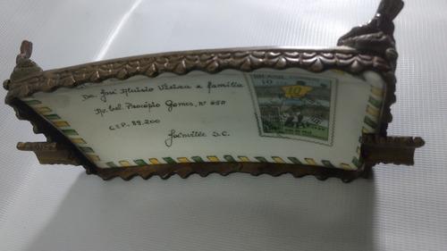 cinzeiro antigo porcelana base de metal selo pelé 1000 gol