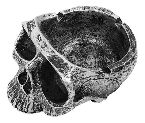 cinzeiro crânio caveira esqueleto prata (resina)